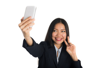 asian business woman selfie