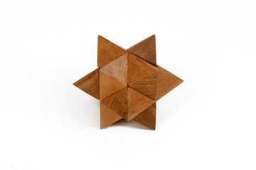 Wooden puzzles cast star-shaped
