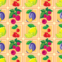 seamless pattern of ripe lemon, raspberry, cherry, plum and fruit slices
