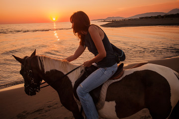 horse ride at sunset