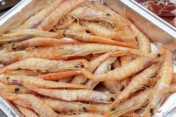 Deep-water rose shrimps from Andalusian coasts, ready to meal