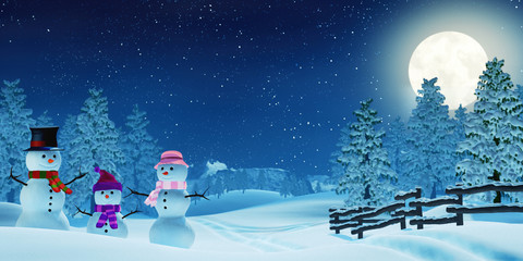 Snowman family in a moonlit winter landscape at night