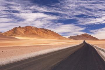 Desert road through the Altiplano, Chile, altitude 4700m
