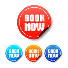 Book Now Round Stickers