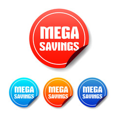 Mega Savings Round Stickers