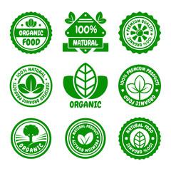 Organic Food Green Labels Set. Vector