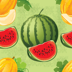 seamless pattern of ripe melon with leaves and slices of melon, watermelon and slices of watermelon