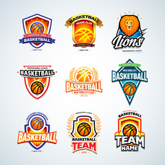 Basketball logo templates set, basketball logotype collection, badge logo design templates, sport logotype templates. Basketball Themed T shirt templates. Vector illustrations.