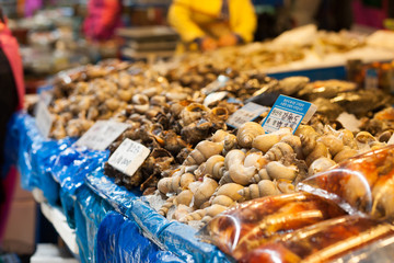 Sea snails and other shells at fish market