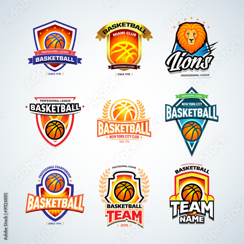 basketball logo templates set basketball logotype collection badge logo design templates. Black Bedroom Furniture Sets. Home Design Ideas