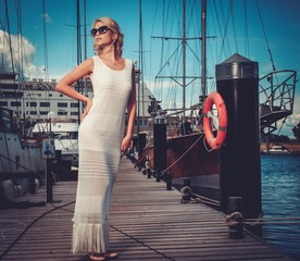 Stylish wealthy woman on a wooden pier