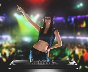 Dj donna discoteca mixer