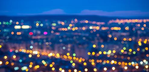 abstract circular bokeh city lights with horizon colorful backgr