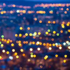 abstract circular bokeh city lights with horizon colorful backgr