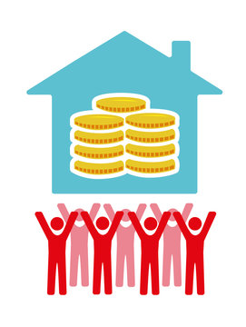 Vector image of people beneath a house with money