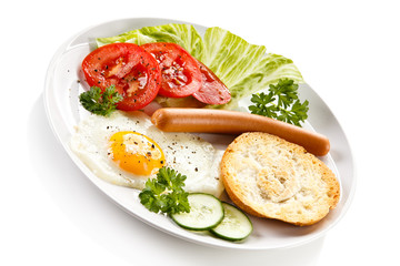 Breakfast - fried egg and sausage