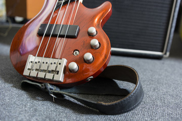 electric bass guitar and combo