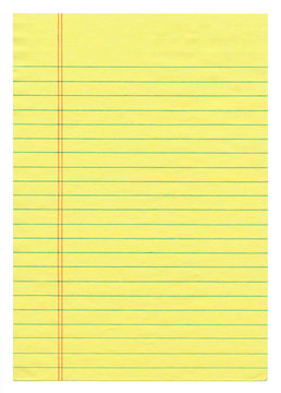 Lined Yellow Legal Paper Isolated on White
