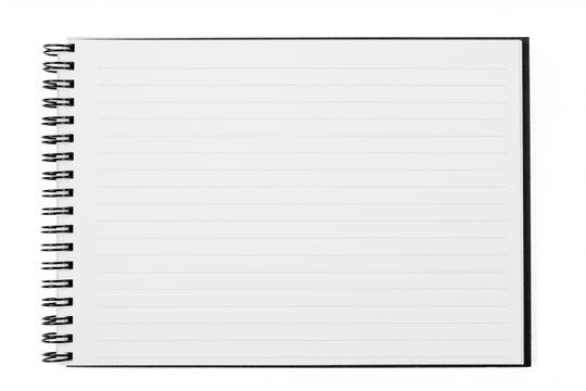 Blank Open Wide Notebook Isolated on White with Clipping Path