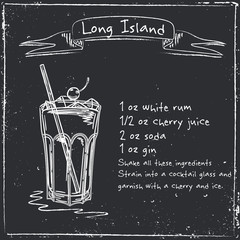 Long island. Hand drawn illustration of cocktail.