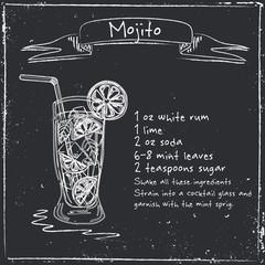 Mojito. Hand drawn illustration of cocktail.