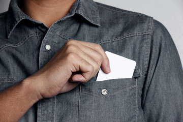 man holding a blank card