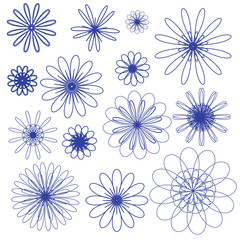Blue vector doodle flowers on the white background
