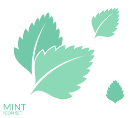 Mint. Icon set. Isolated leaves on white background