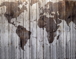 World map drawn on canvas wood effect