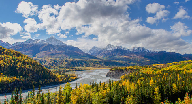 The Matanuska River flows below the Chugach Mountains in Alaska
