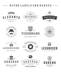 Retro Logotypes set vector vintage graphics