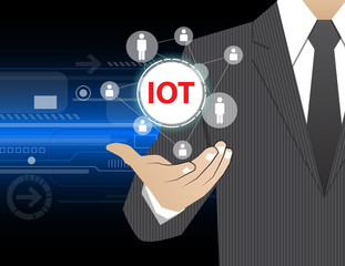 Concept Businessman in his hands , IOT
