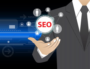 Concept Businessman in his hands ,SEO (or Search Engine Optimiza