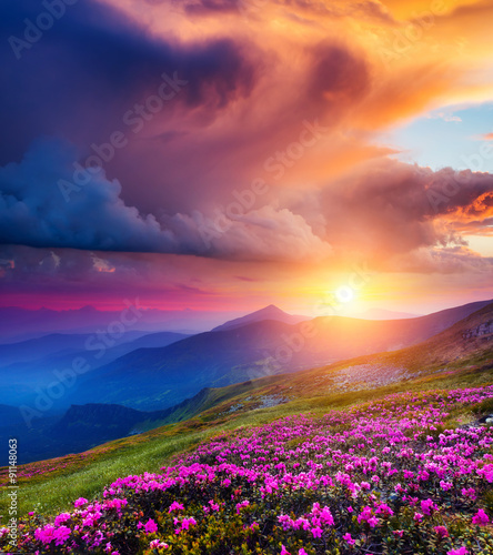 Wall mural magical mountains landscape