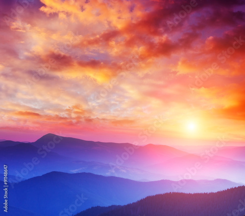 Wall mural beautiful mountains landscape