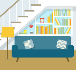 library under the stairs. flat vector illustration