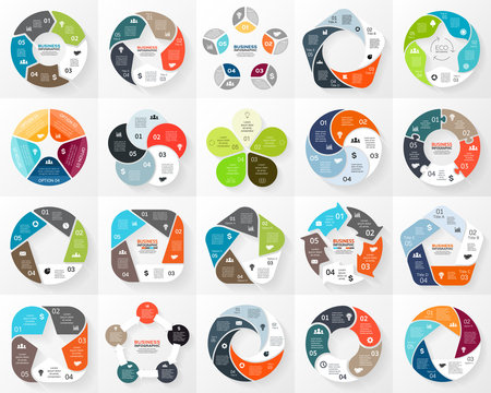 Vector circle infographic. Template for cycle diagram, graph, presentation and round chart. Business concept with 5 options, parts, steps or processes. Abstract background