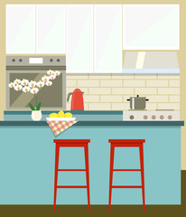 flat kitchen. vector illustration