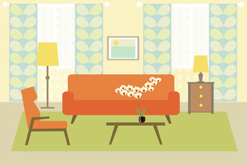 flat living room.vector illustration