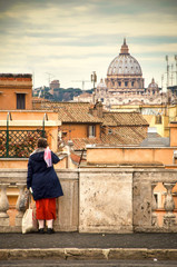 old lady Rome balcony senior people back italy book cover vertical St. Peter's dome