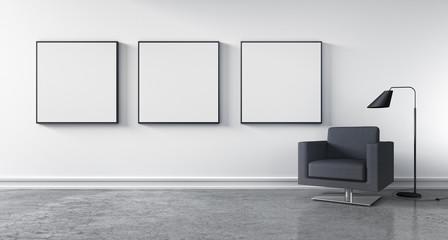 Raum mit 3 Bildern und Sessel