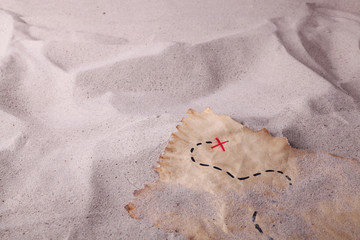 A treasure map in the sand