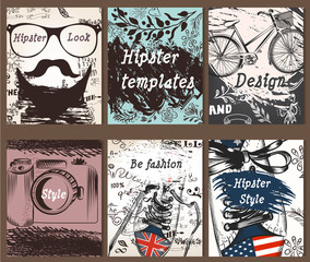 Collection of vintage creative cards with hand sketched hipster