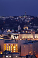 Jerusalem Old City and Mount of Olives at Night