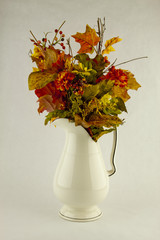 Fall Flower Arrangment on a white background