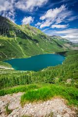 Wonderful pond in the Tatra Mountains at sunrise - fototapety na wymiar