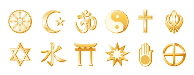 World Religions and Faiths: Top: Buddhism, Islam, Hindu, Taoism, Christianity, Sikh. Bottom: Judaism, Confucianism, Shinto, Baha'i, Jain, Native Spirituality. Gold icon symbols.