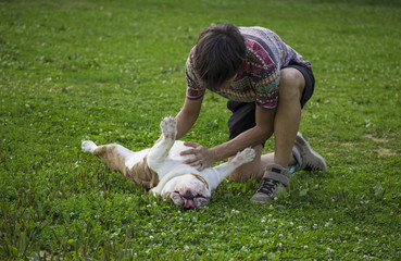Owner rubbing his dog belly, in grass.