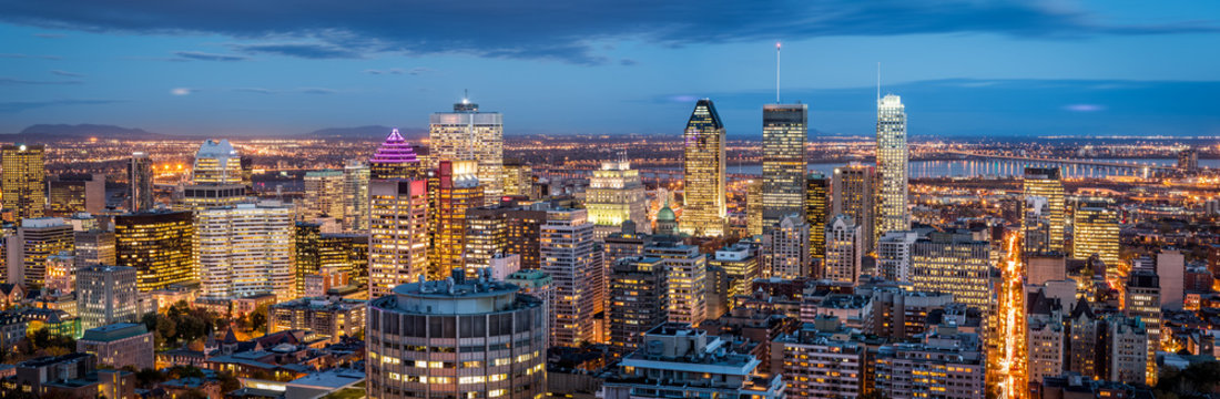 Montreal panorama at dusk as viewed from the Mount Royal