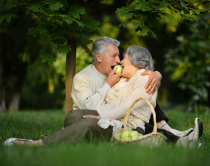 Elder couple in park with apples
